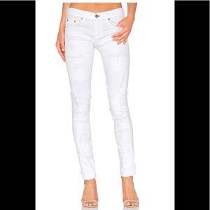 Rag & Bone The Skinny distressed white jeans